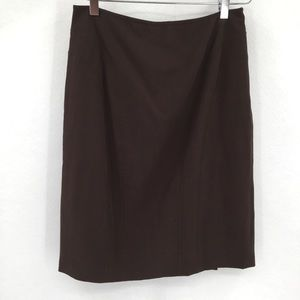 Nine West seamed brown skirt pleated kickpleat 4